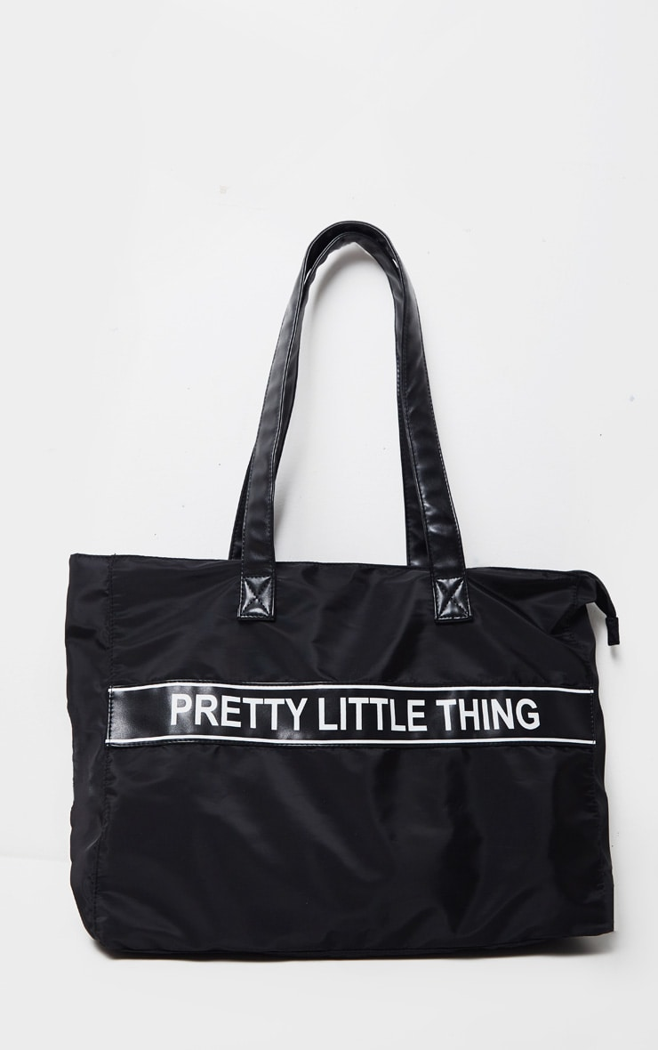PRETTYLITTLETHING Black Nylon Tote Bag 2