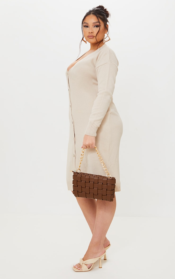 Plus Stone V Neck Knitted Button Up Midi Cardigan 3