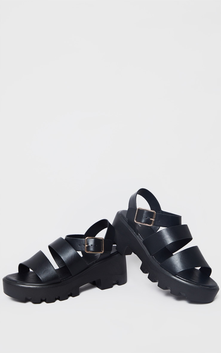 Black Triple Strap Chunky Sandals 3
