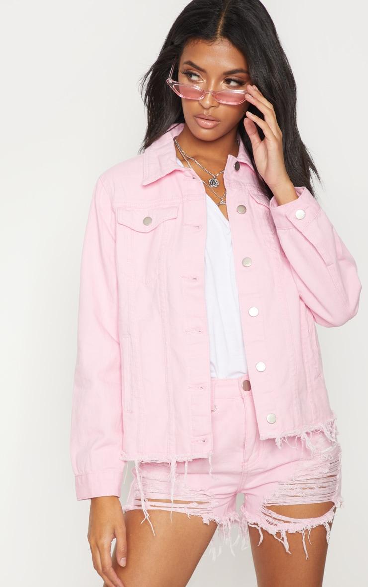 Pink Abegaila Oversized Denim Jacket 4