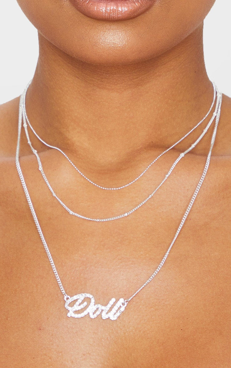 Silver Diamante Doll Layering Necklace 2