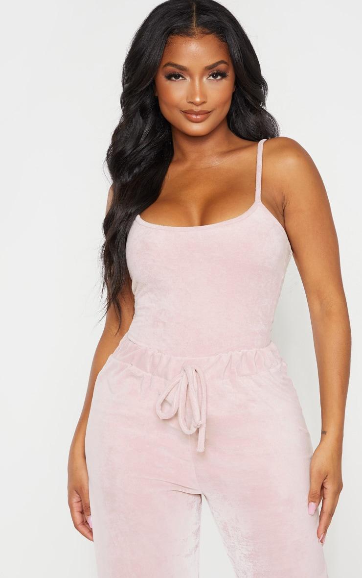 Shape Rose Velour Strappy Bodysuit 1