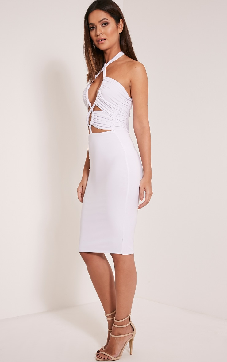 Meeka White Ruched Halterneck Cut Out Midi Dress 4