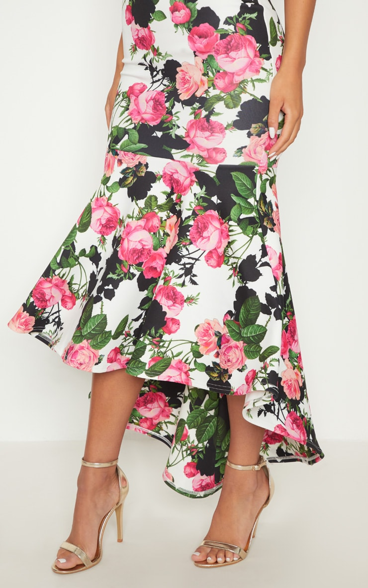 White Floral Bandeau Fishtail Midi Dress 5