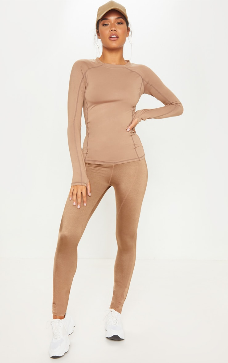 Mocha Long Sleeved Gym Top 4