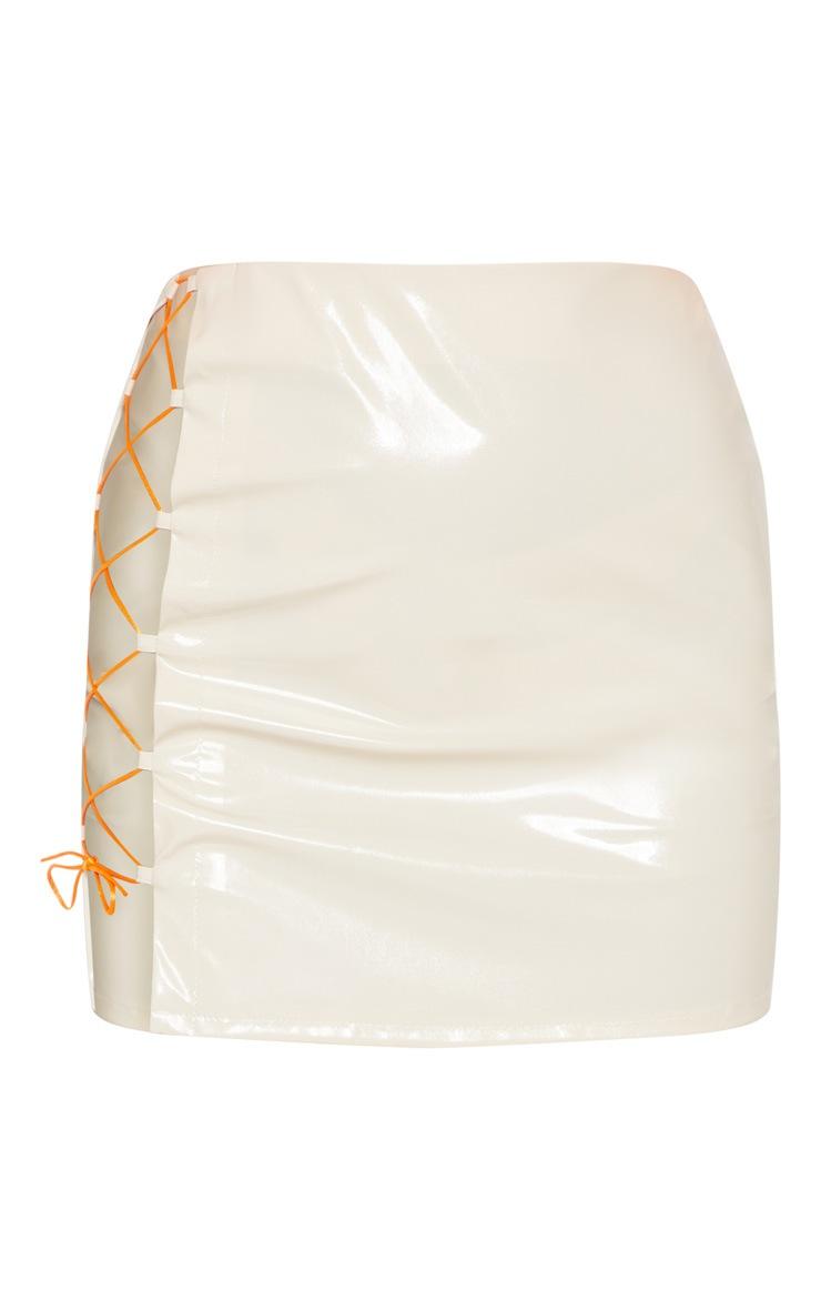 Cream Vinyl Neon Lace Up Detail Mini Skirt  3
