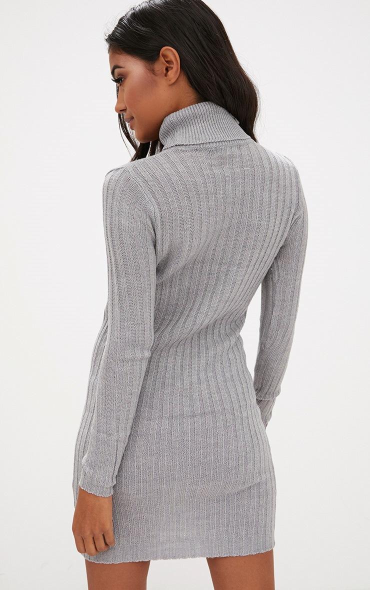 Grey Rib Roll Neck Dress 2