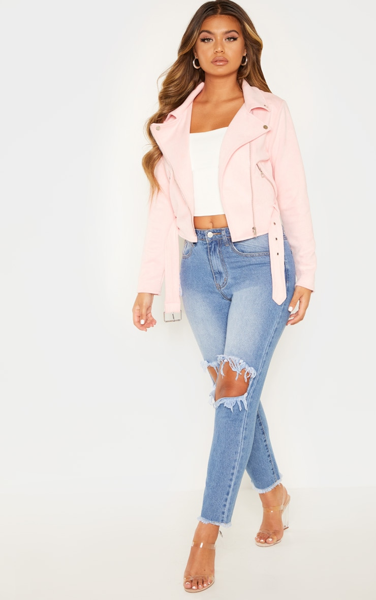 Light Pink Faux Suede Biker Jacket 4
