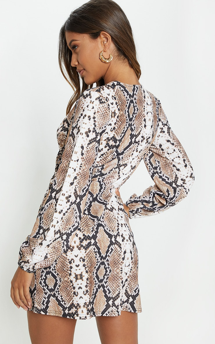 Tan Snake Print Plunge Shift Dress 3