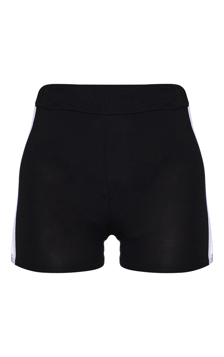 Black Double Side Stripe High Waisted Short 3