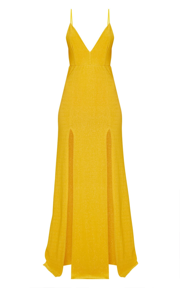 Yellow Strappy Plunge Double Split Detail Maxi Dress 3