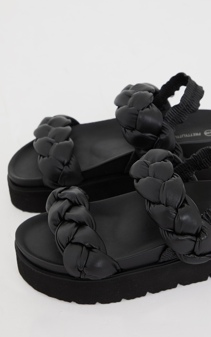 Black Real Leather Platted Twin Strap Flatfom Footbed Sandals 4