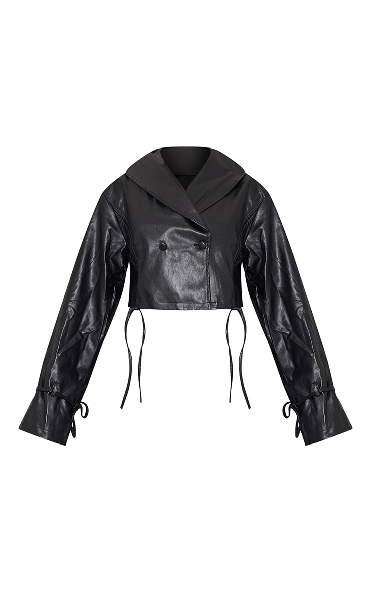 Black Faux Leather Ruched Side Tie Sleeve Cropped Biker Jacket 5