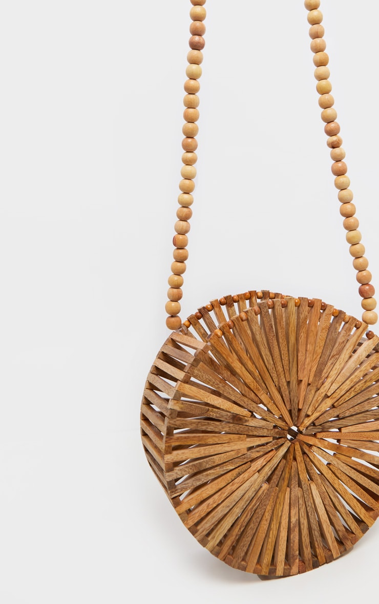 Light Wood Structured Circle Beaded Handle Cross Body Bag 1