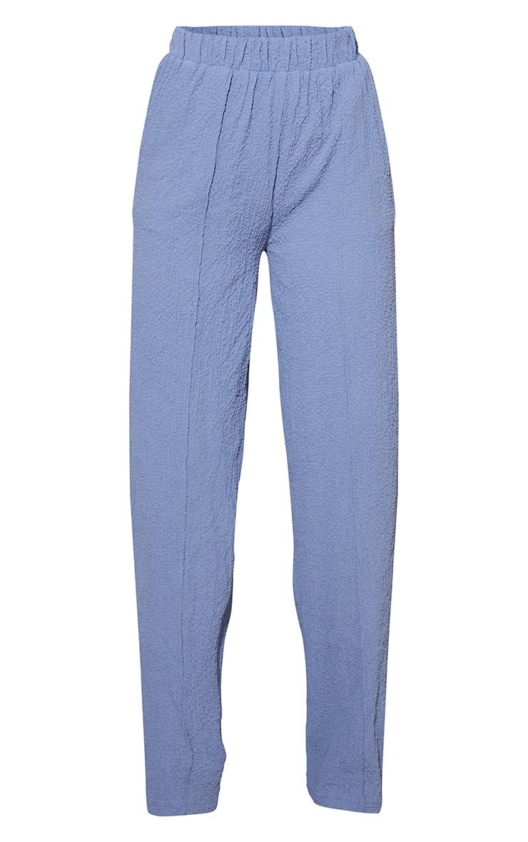 Blue Textured Elastic Waist Wide Leg Pants 5