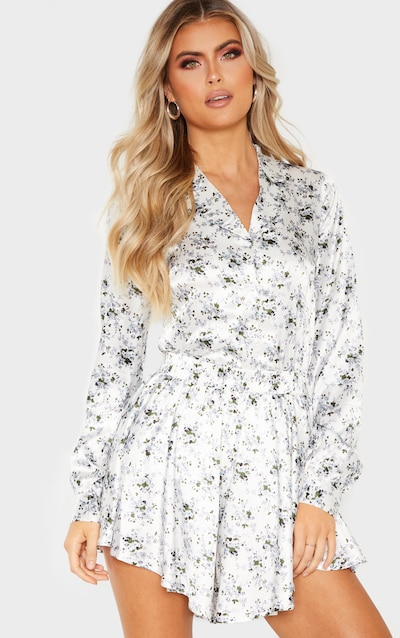 f9d6fb69d96 Tall White Floral Button Detail Fitted Shirt PrettyLittleThing Sticker