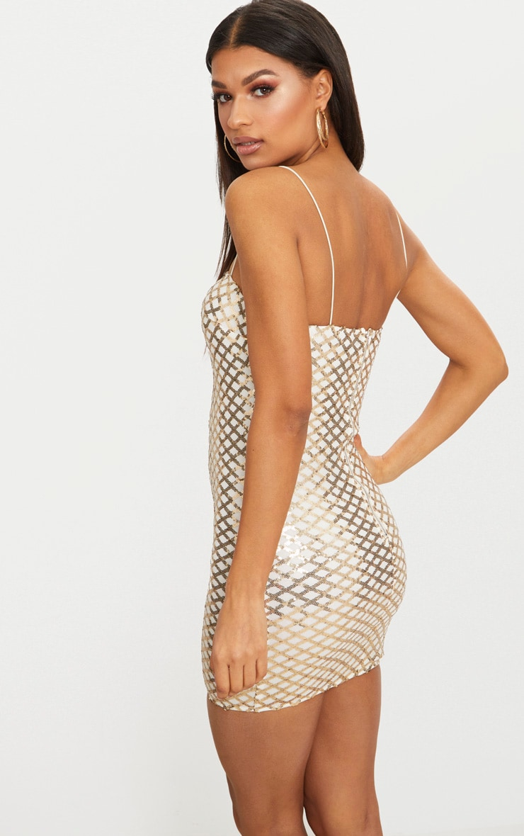 Gold Strappy Sequin Straight Neck Bodycon Dress 2