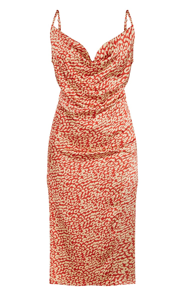 Multi Leopard Print Strappy Satin Cowl Midi Dress 3