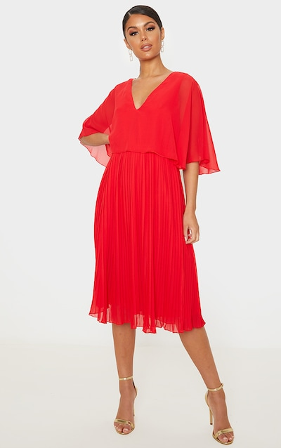 Red Cape Pleated Detail Midi Dress