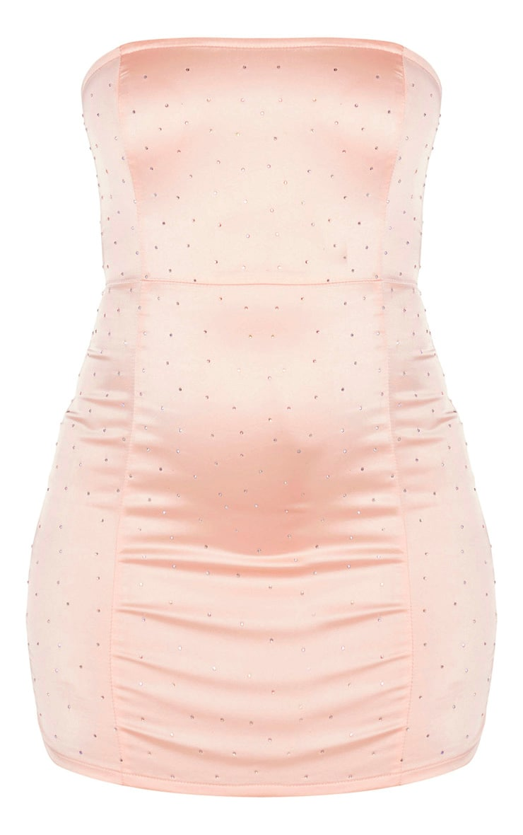 Blush Satin Diamante Detail Bandeau Bodycon Dress 3