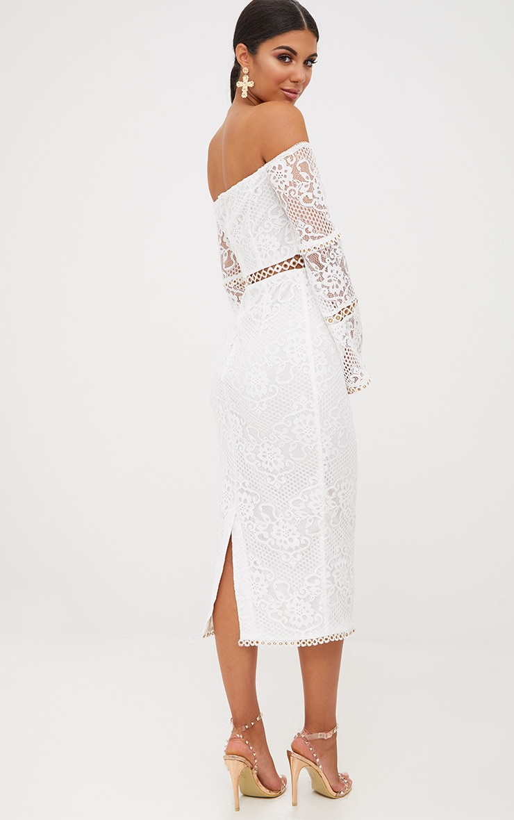 White Lace Eyelet Detail Bardot Midi Dress 3