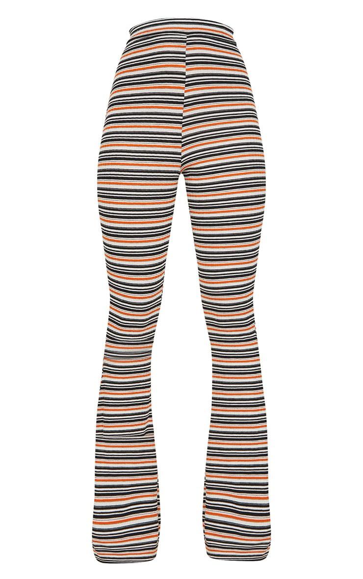 Orange Stripe Ribbed Flared Trousers 3