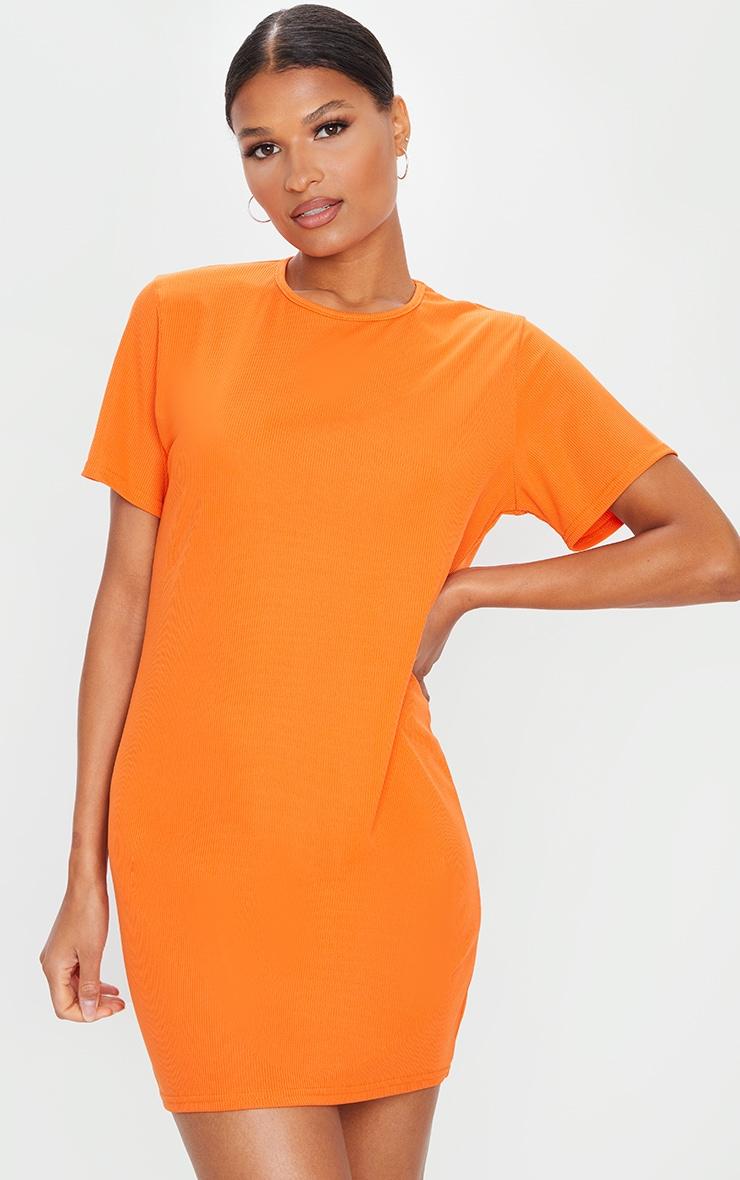 Orange Basic Rib Short Sleeve T Shirt Dress 1
