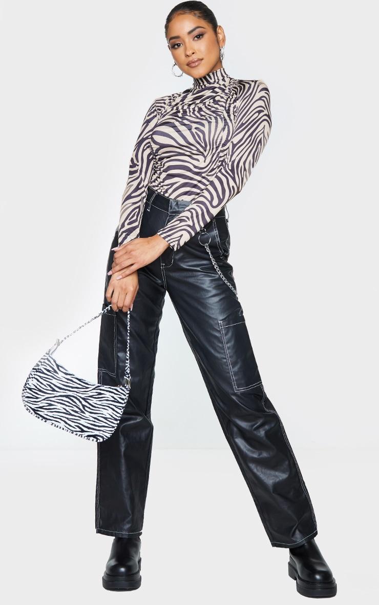 Beige Zebra Print Jersey Draped High Neck Bodysuit 3
