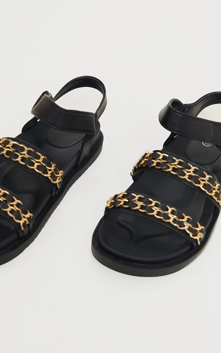 Black PU Footbed Double Strap Chain Detail Sandals 4