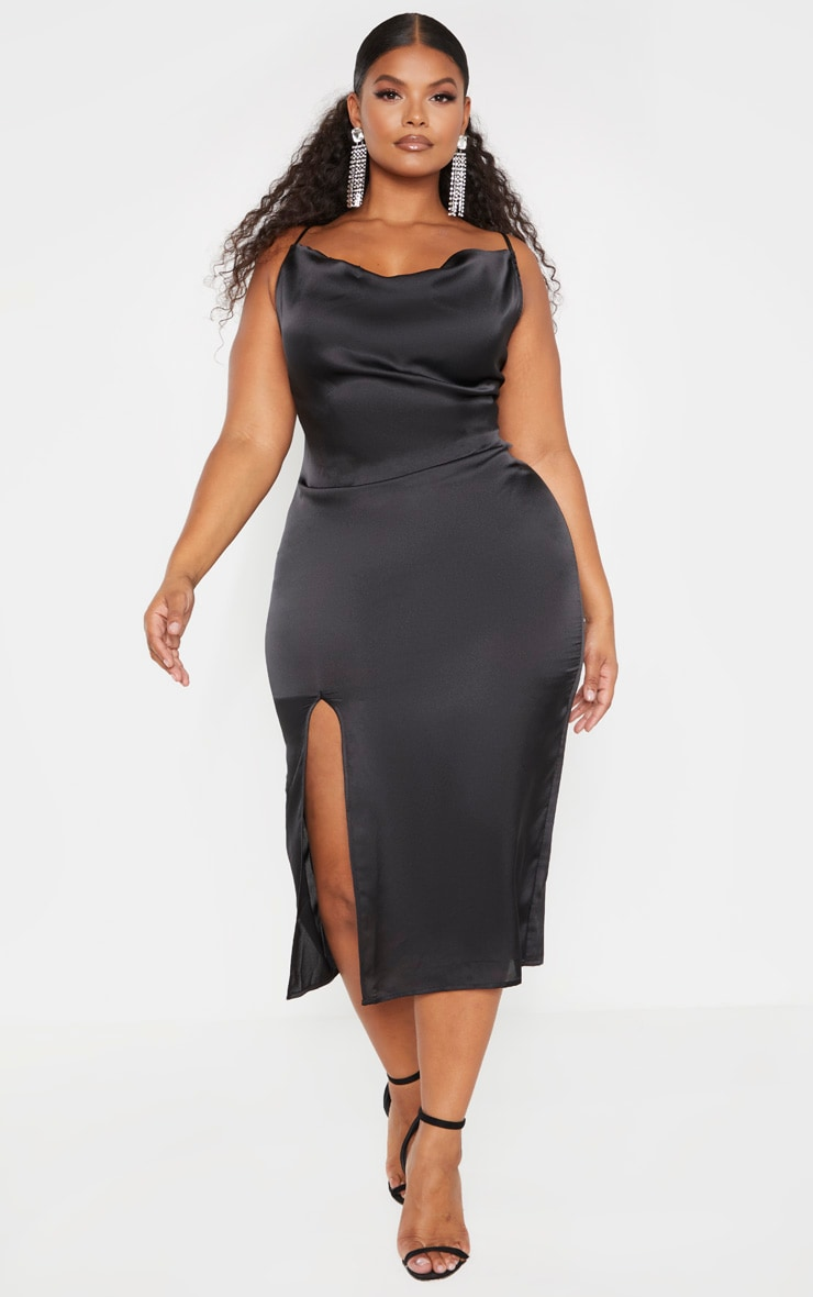 Plus Black Strappy Satin Cowl Midi Dress 4