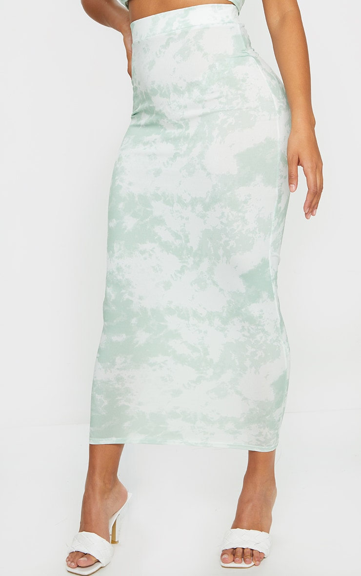 Shape Sage Green Tie Dye Ruched Bum Maxi Skirt 2