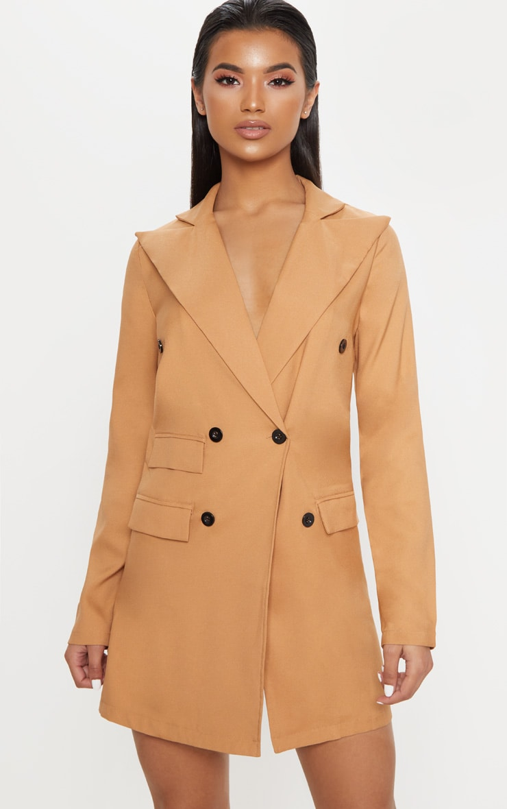 Camel Pocket Detail Blazer Dress