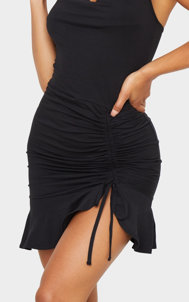 Black Cotton Strappy Cowl Ruched Frill Hem Bodycon Dress 4