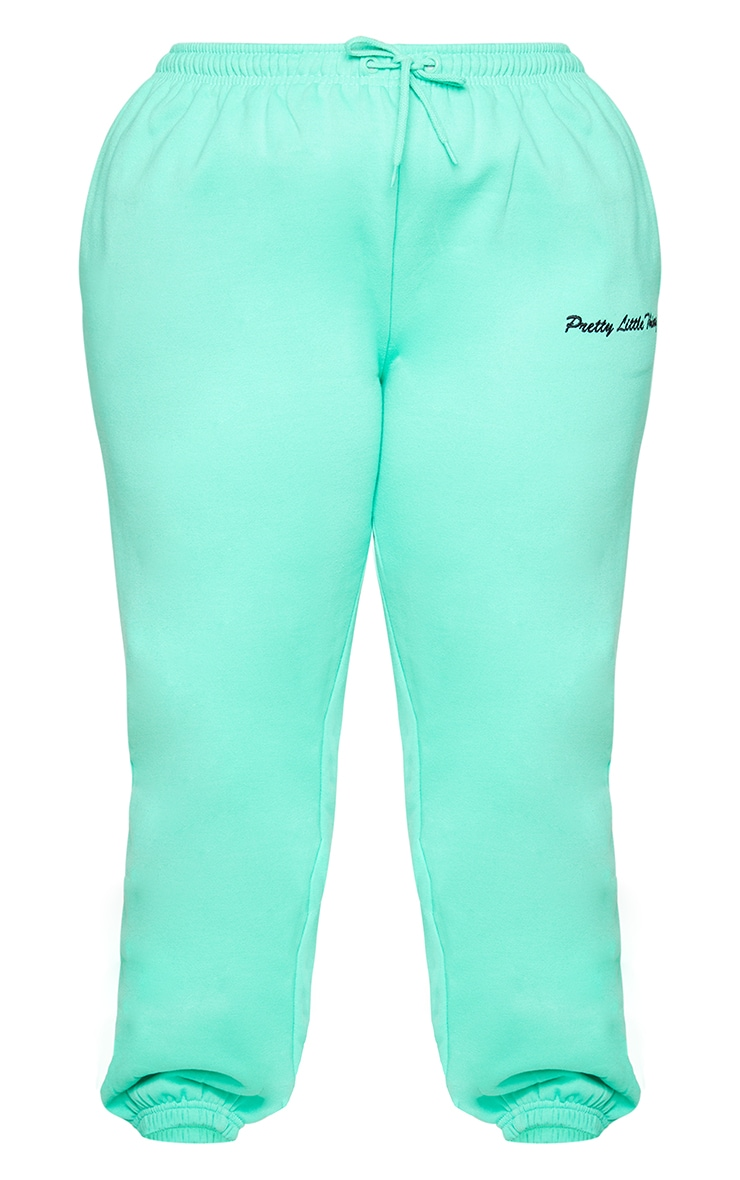 PRETTYLITTLETHING Plus Mint Green Embroidered Joggers 5