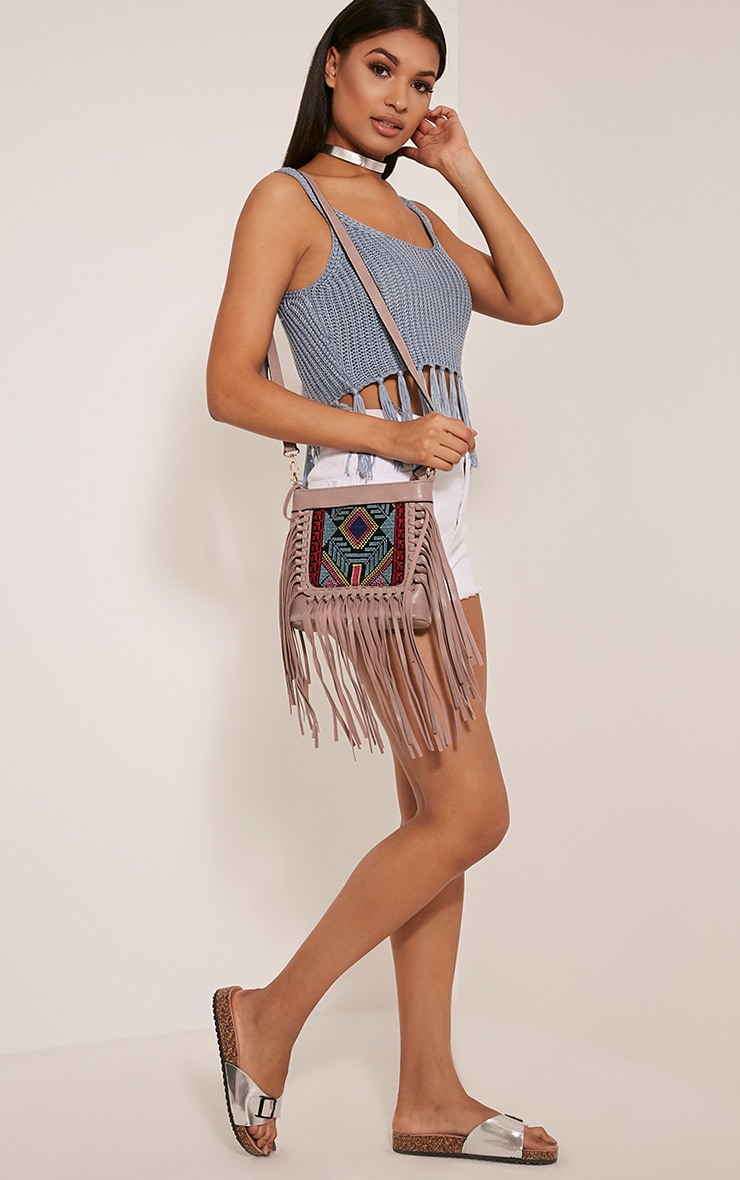 Serena Purple PU Tapestry Fringe Bag 2