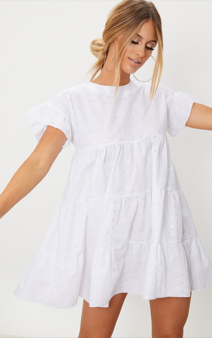 White Broderie Anglaise Smock Dress 4