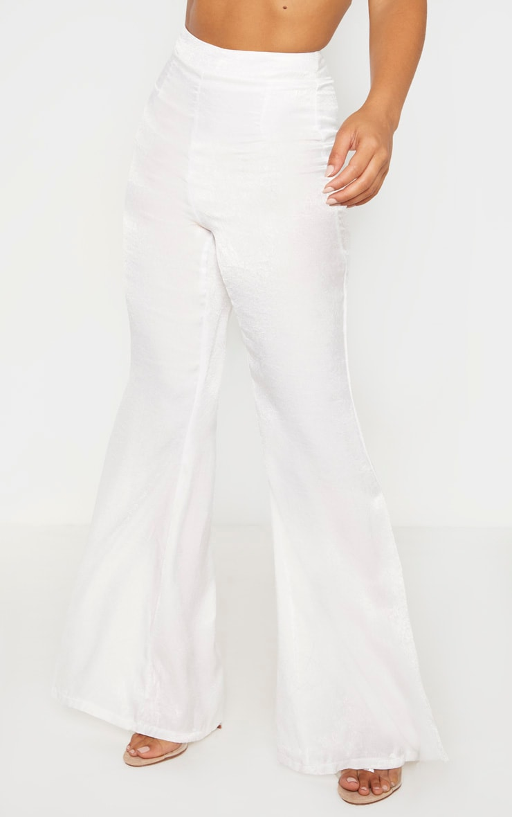 Petite White Tailored Extreme Flared Pants 2