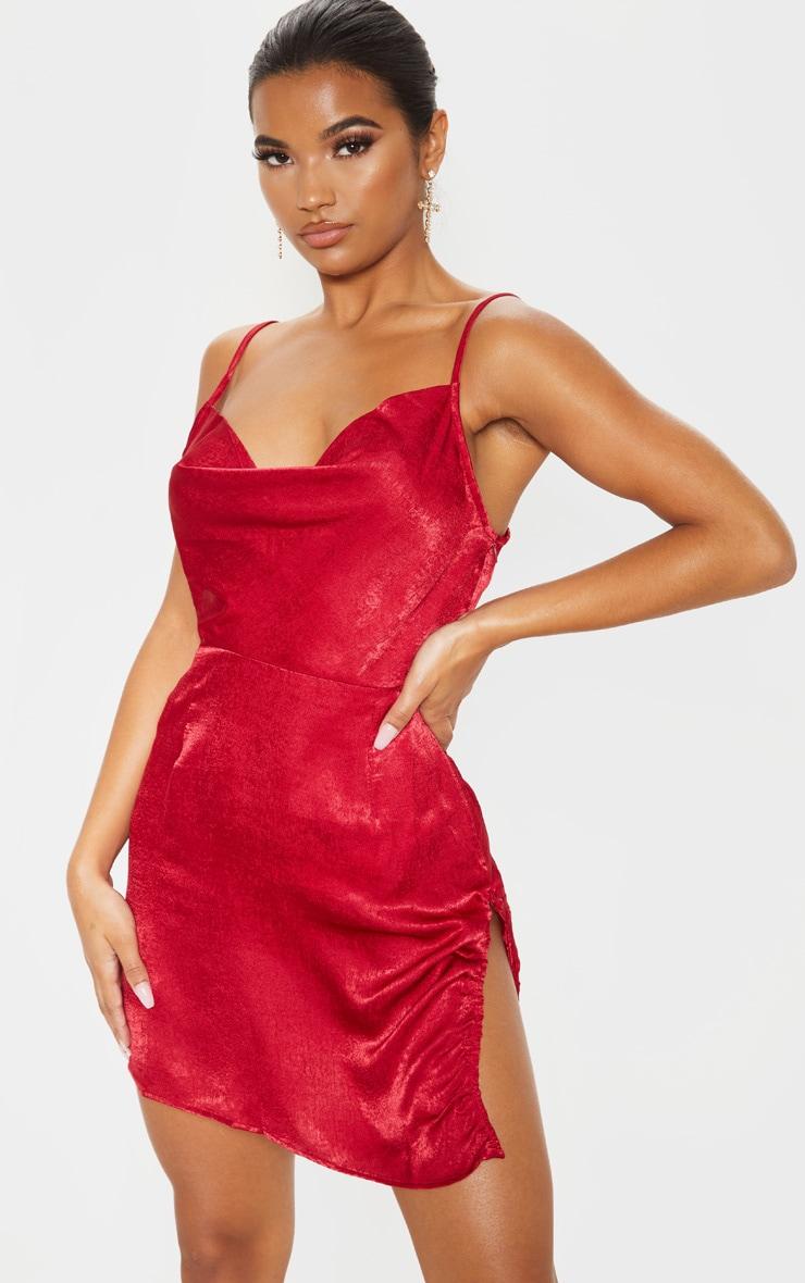 Scarlet Hammered Satin Cowl Ruched Split Bodycon Dress 1
