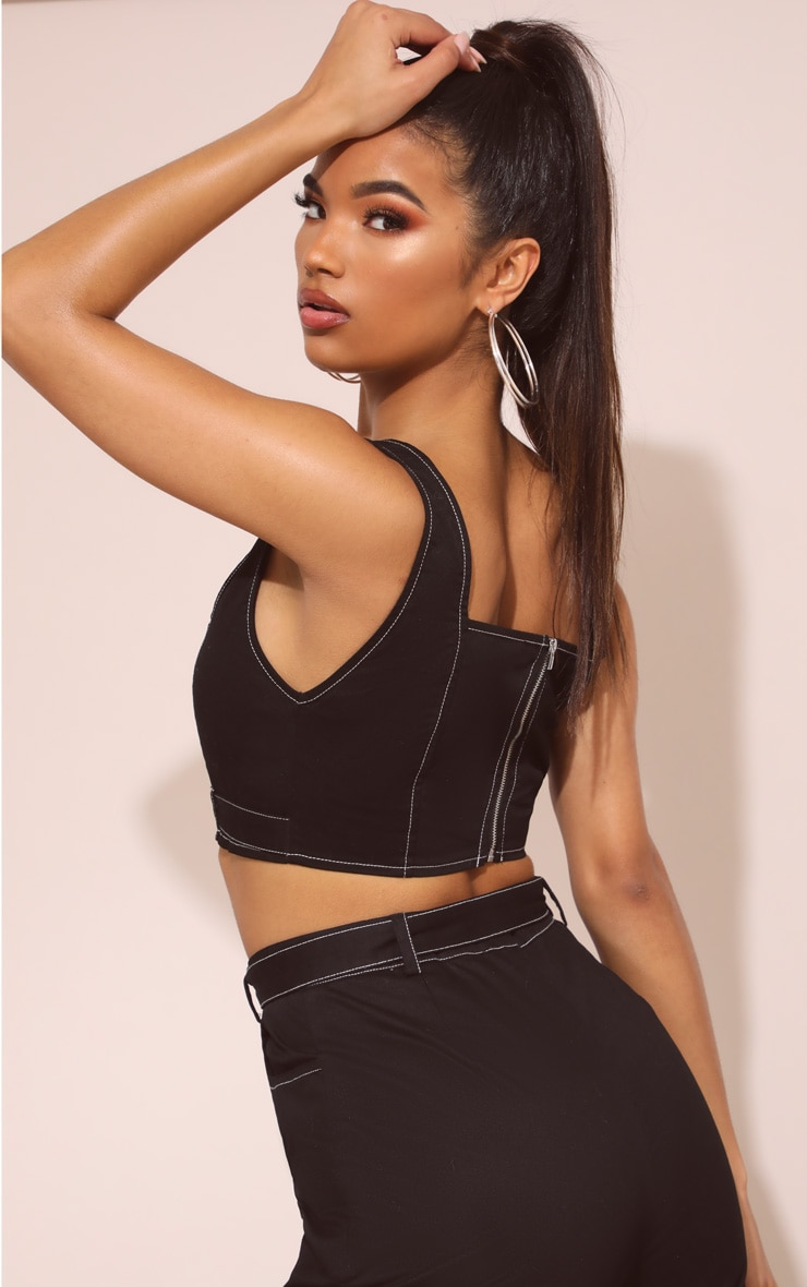 Black Contrast Stitch Square Neck Crop Top 3