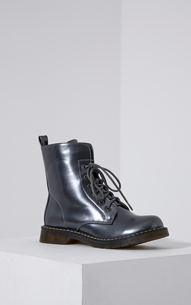 Eleni Grey Metallic Rubber Sole Lace Up Boots 3