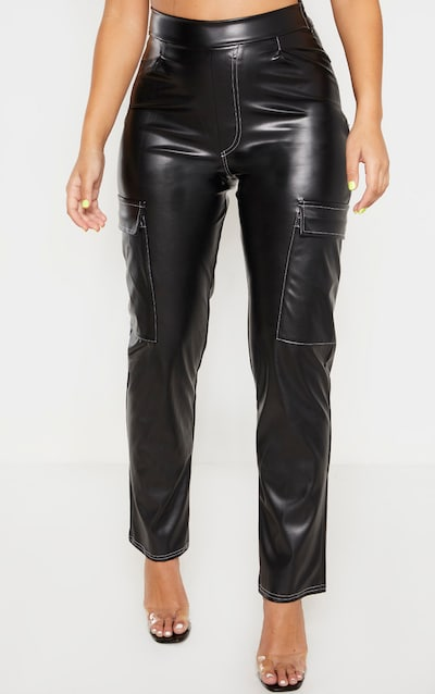 Black PU Contrast Stitch Straight Leg Trouser