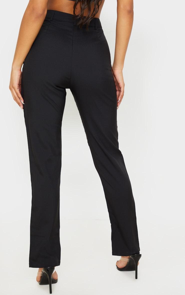 Black High Waisted Straight Leg Split Hem Pants 4