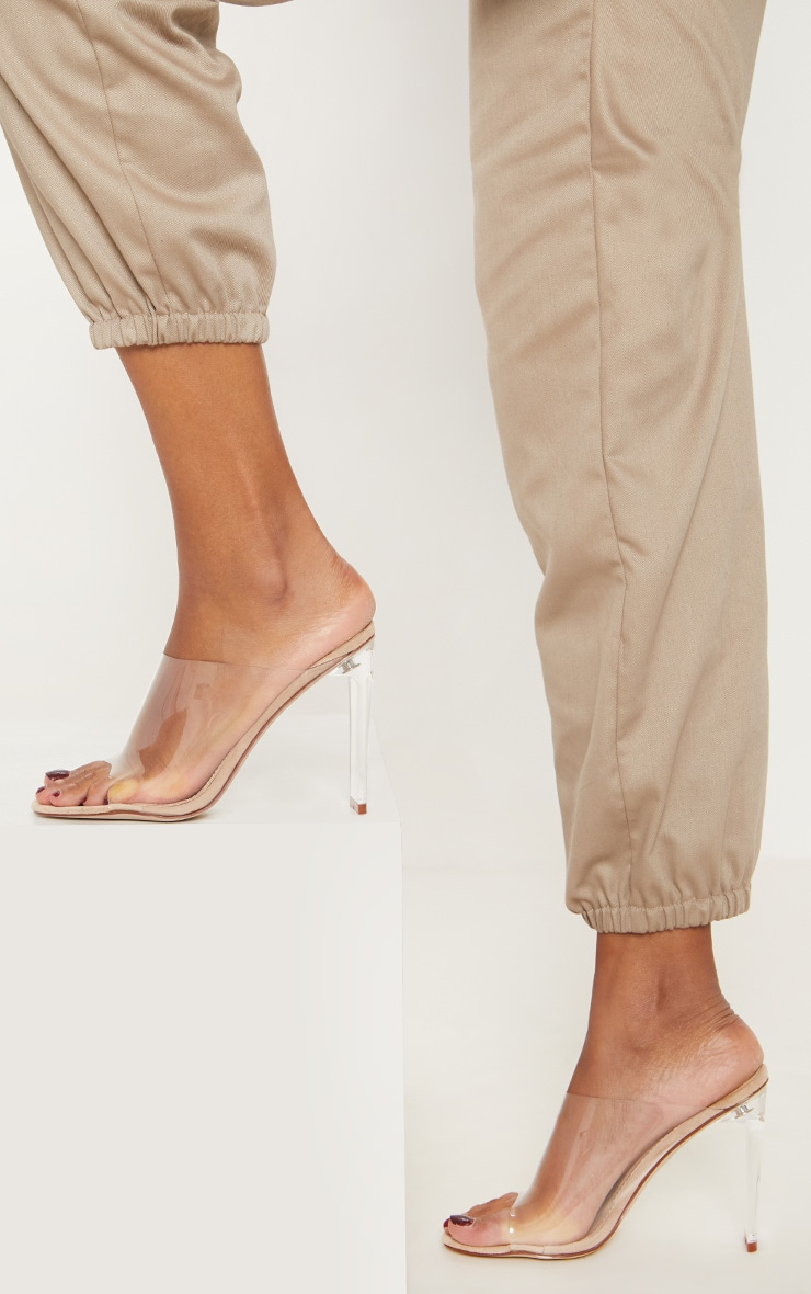 Nude Clear High Flat Heel Mule 2