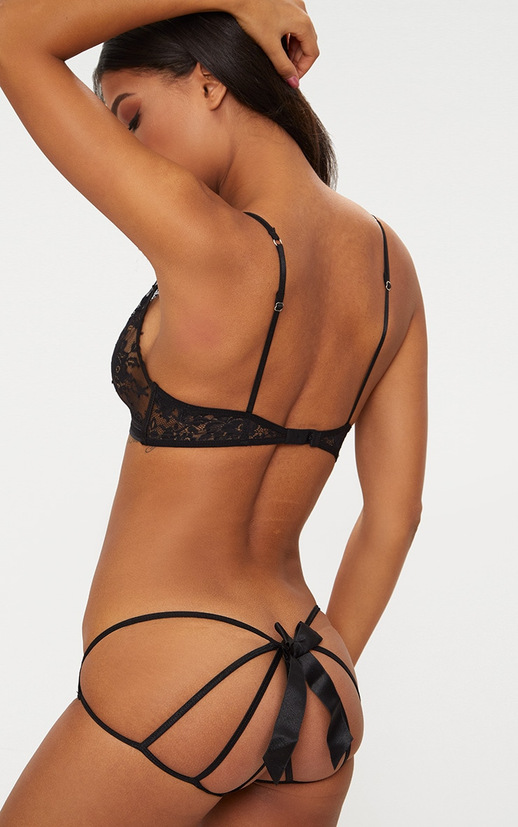 Black Caged Bow Back Knicker 1