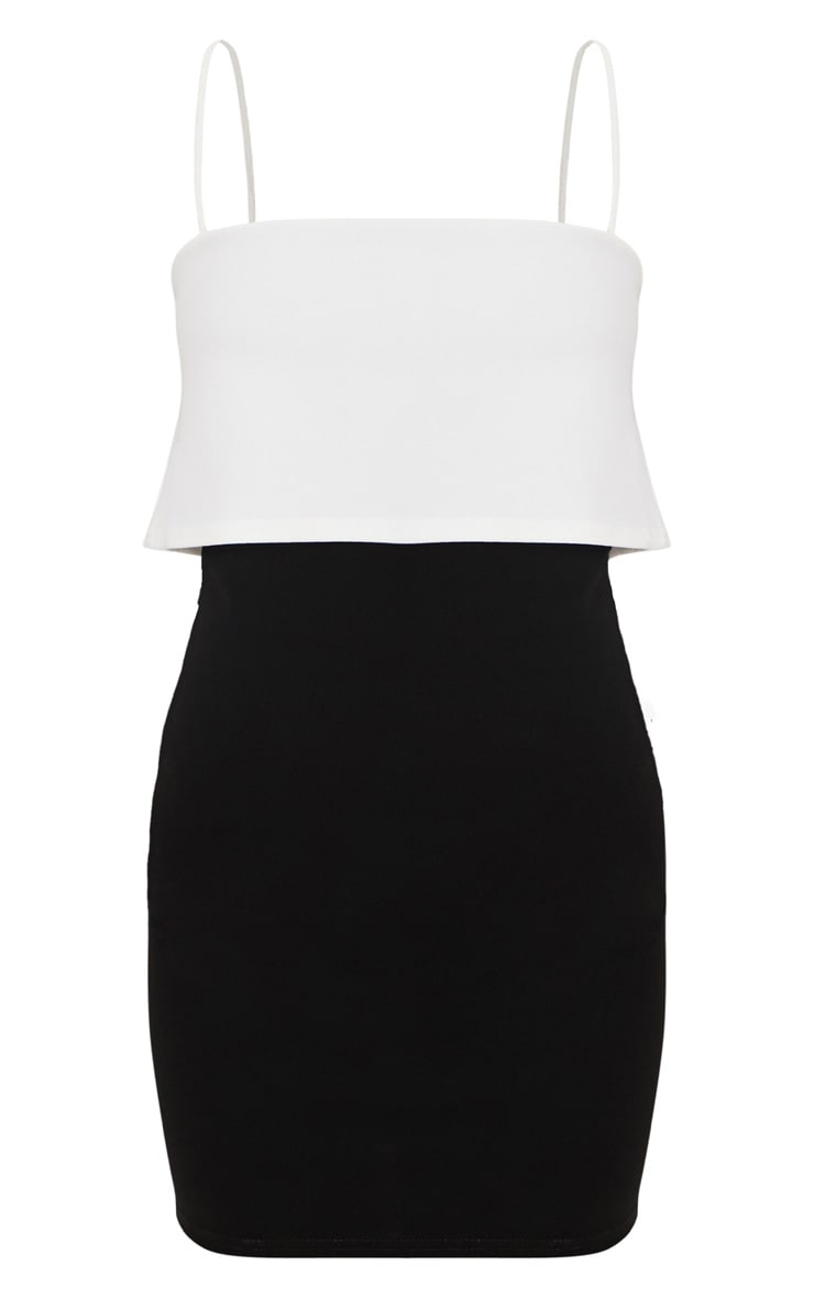 Black Contrast Strappy Panel Bodycon Dress 3