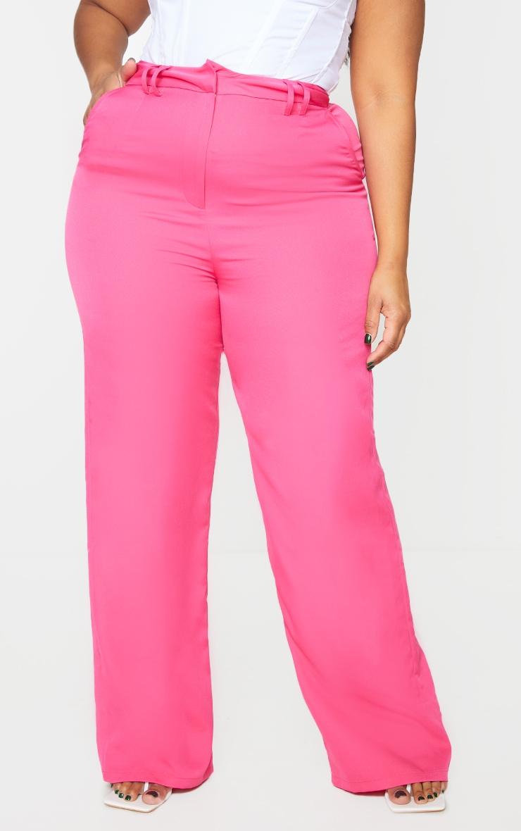 Plus Pink Woven Wide Leg Belt Loop Pants 2