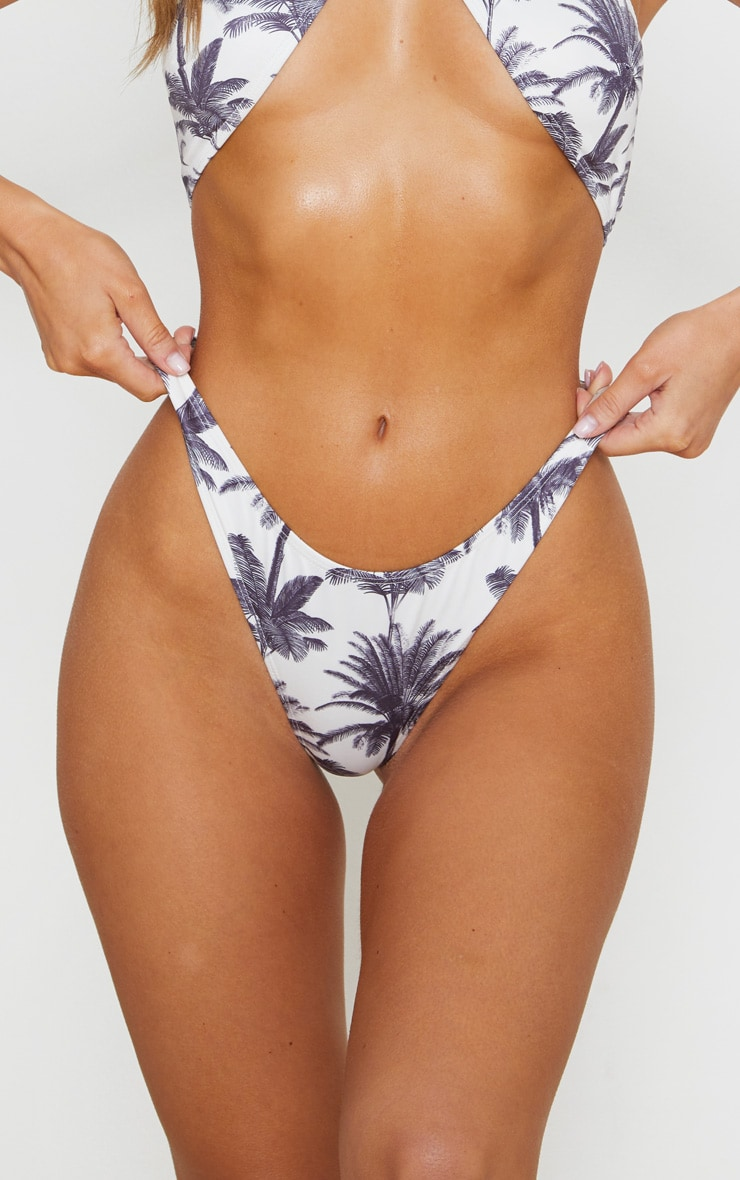 Monochrome Tropical High Rise Bikini Bottom 5