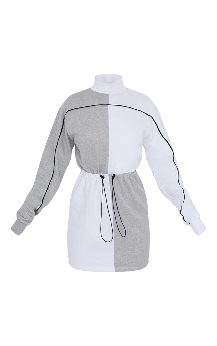 Grey Contrast Block High Neck Toggle Waist Sweatshirt Dress 5