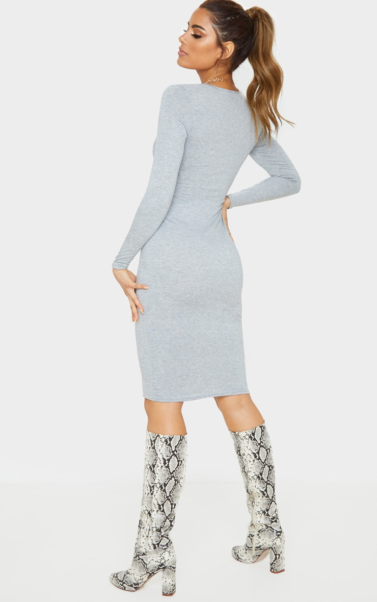 Tall Grey Long Sleeve Midi Dress 2