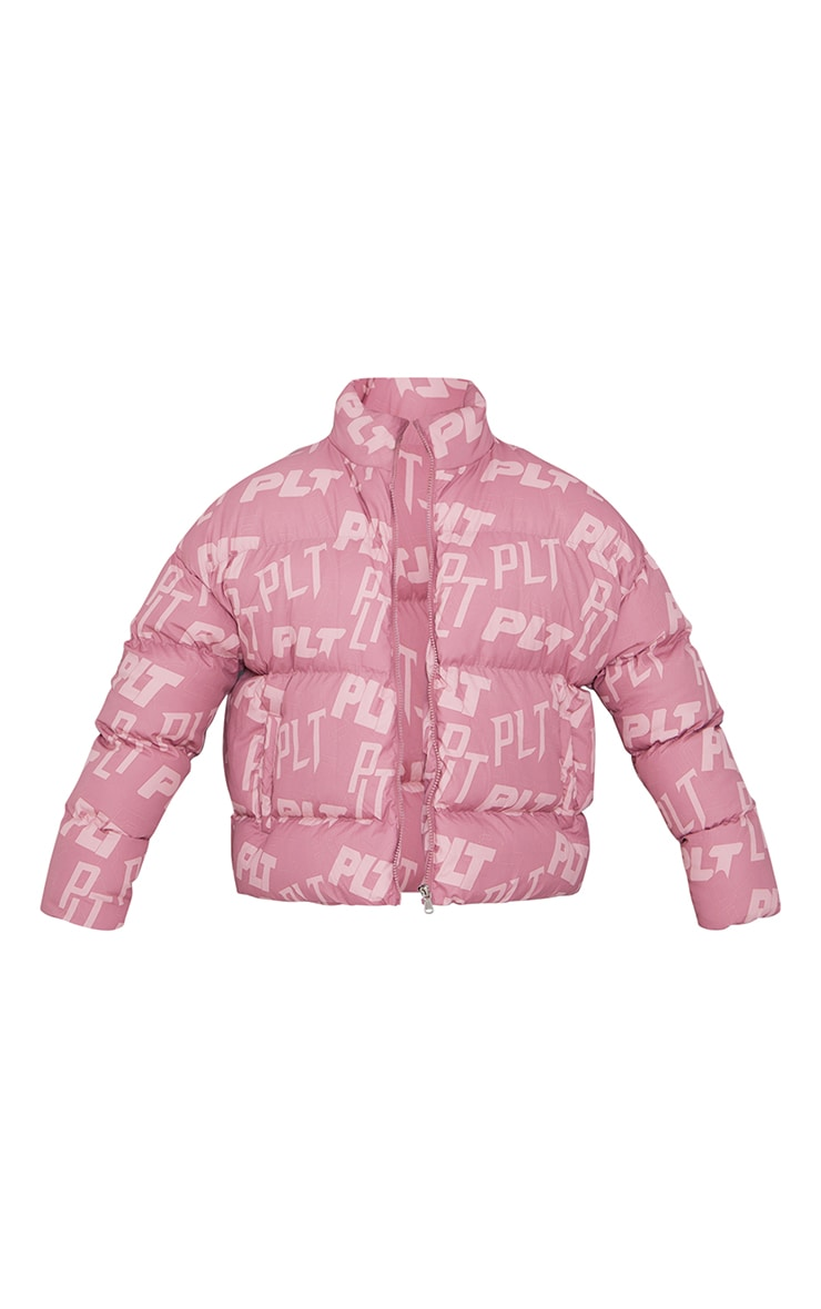 PRETTYLITTLETHING Pink Mix Print Puffer 5